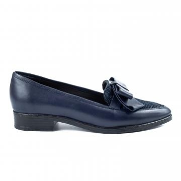 mocasini cu fundita, pantofi piele naturala, pantofi office, pantofi casual, pantofi cu fundita, pantofi bleumarin, pantofi cu buline,