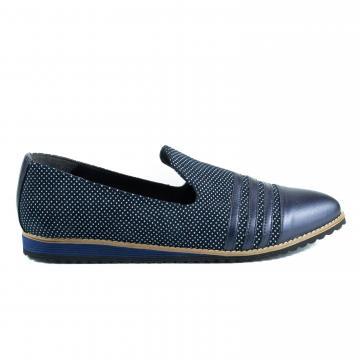 pantofi cu buline, pantofi casual, balerini cu buline, incaltaminte cu buline, pantofi la comanda, pantofi pe comanda, atelier pantofi dama, pantofi birou, pantofi bleumarin, pantofi albastri, balerini bleumarin