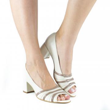 pantofi pumps piele naturala, incaltaminte piele naturala, incaltaminte dama, pantofi cu toc, pantofi crem, pantofi decupati, pantofi birou, pantofi cu toc casual, pantofi comozi,
