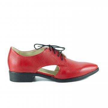pantofi oxford, pantofi piele naturala, pantofi colorati, incaltaminte dama, pantofi rosii