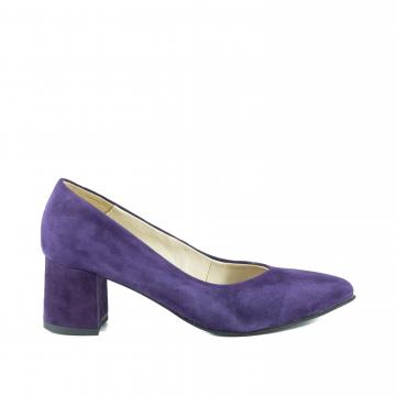 pantofi pumps piele naturala, incaltaminte piele naturala, incaltaminte dama, pantofi cu toc, pantofi la comanda, pantofi mov, pantofi piele intoarsa, pantofi livrare gratuita,