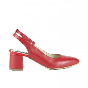 pantofi pumps piele naturala, incaltaminte piele naturala, incaltaminte dama, pantofi cu toc, pantofi rosii, pantofi rosii piele, pantofi din piele, pantofi slingback
