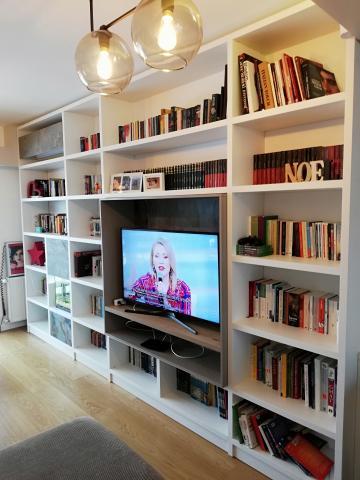 mobilier living, mobila living, producator mobilier, front mdf, fronturi mdf, nettfront, fronturi de usi lemn, mobila moderna, mobila la comanda, bibiloteca, mobila biblioteca moderna