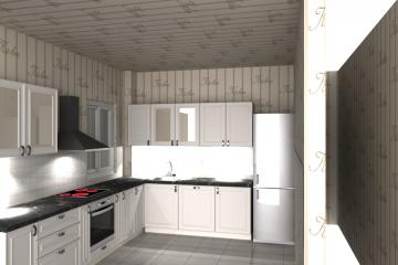 model 3d bucatarie, interior design bucatarie Baneasa, Bucatarie model L Bucuresti, proiect free bucatarie in L