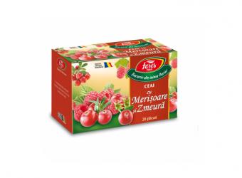 Ceai cu merișoare și zmeură, la plic